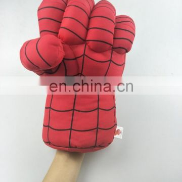 custom red spider pattern kids play plush stuffed toy boxing gloves