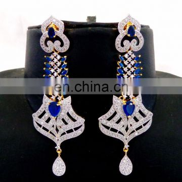 2016 Bollywood style gold plated CZ Earring - Wholesale American Diamond Dangle Earring - Blue CZ stone gift For Her