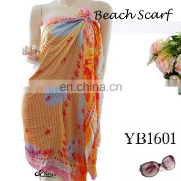 2017High-end custom ladies beach towel Fashion Scarf, Chiffon Polyester Printed long scarf hot sell European new style