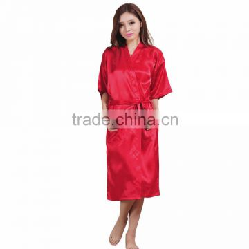 Bathrobe Womens Kimono Satin Long Robe Sexy Lingerie Classic Nightgown Sleepwear with Belt