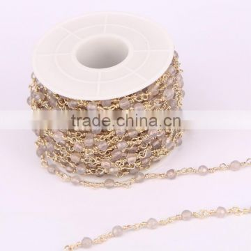 Natural White Gray Color 4mm Faceted Agate Round Beads Necklace Chain Handmade Wire Linked Chains Fashion Jewelry