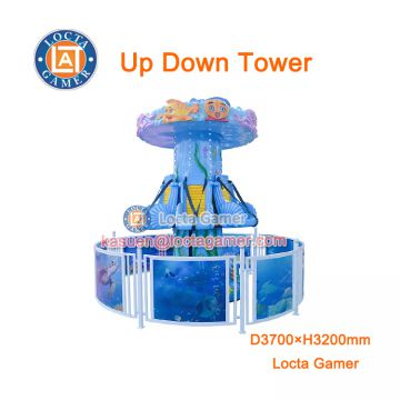 Zhongshan outdoor theme park amusement equipment 6 seat revolving Up Down Tower, rotate, kiddie rides, earn money