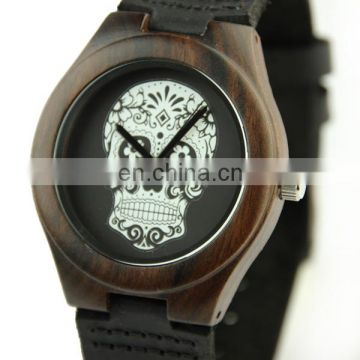 Latest japanese movement wood watch mens watch skull watch