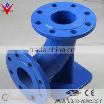 Double Flanged Ductile Iron Duckfoot Bend With Blue Epoxy Coating
