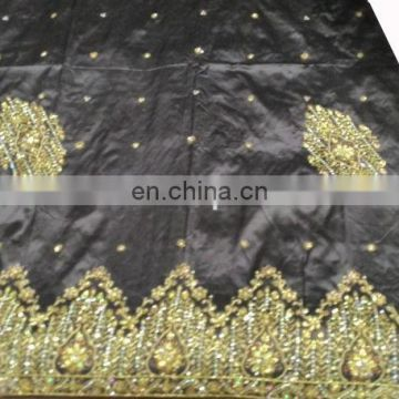 New Design Nigerian African 100 % Raw Silk Stones Handwork George Fabric Wrapper