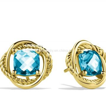 Sterling Silver Jewelry 7mm Infinity Earrings with Blue Topaz in Gold(E-119)