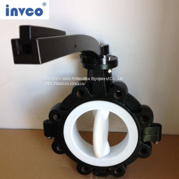 INVCO lug type butterfly valve/Fluorine lining butterfly valve for oil and gas