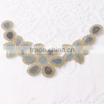 Beautiful crystal design clear rhinestone beaded bridal motif neckline Collar Applique For Wedding Dresses