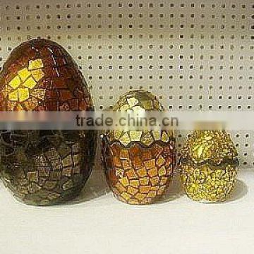 set 3 ornament mosaic glass egg
