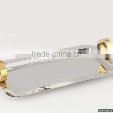 stainless steel rectangle gold plated handle tray