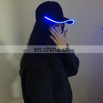 HOT sales colorful promotion gift LED fiber light hat LED flashing cap for adult