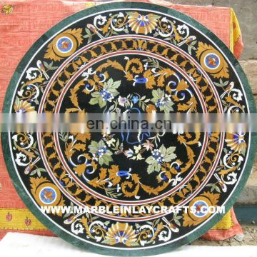Antique Marble Inlay Table Top, Stone Pietra Dura Table Tops Manufacture