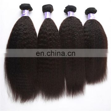 Aliexpress hair nature color kinky straight hair weft extension remy virgin peruvian human hair from factory