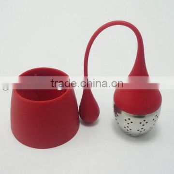 Loose Leaf Tea Stainless Steel Strainer Drip Tray Silicone Herbal Filter