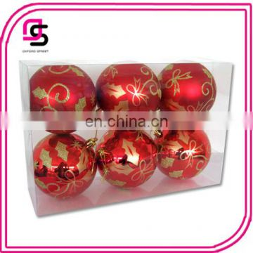 2016 New design Plastic Christmas ball ,Christmas tree ball,Christmas hang-painted ball 6pcs