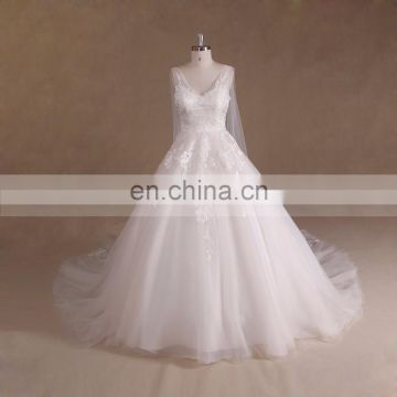 2017 Ivory A Line Lace Cape Style Wedding Dress