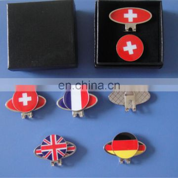 Netherlands Flag Golf Hat/Cap Clip with Magnetic Ball Marker in a Gift Box