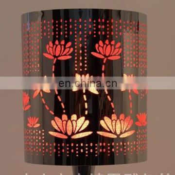 Chemical etching craft table lamp lampshade with stainless steel