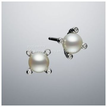 925 Silver Jewelry Cable 6mm Pearl Stud Earrings(E-078)
