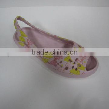 2014 ladies plastic eva jelly sandals with printing slippers injection shoes from bsci audit factory liyoushoes