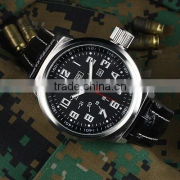 MR026 Brand New Black face mens man analog army military sport leatcher watch