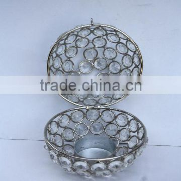 Egg shape Glass Diamond Votive with in nickel finish