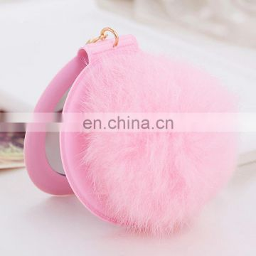 High quality lovely rabbit fur pompom mirror fur ball accessory for lady