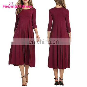 Wholesale Casual Long Sleeve Midi-Length Black 2017 Women Dresses