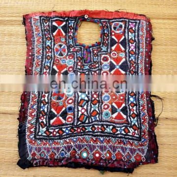 Vintage Mirror work Handmade Kutch patches- Bohemian Kutch embroidered Patch - Banjara Yock neck Patches