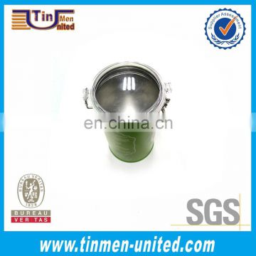 Green paint tin cans with inner lid/coffee tin box/ metal tea tin box