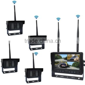 Digital Wireless Night Vision Truck Camera System with IP69K Waterproof Outdoor Camera and 4 Video input Audio Output Monitor