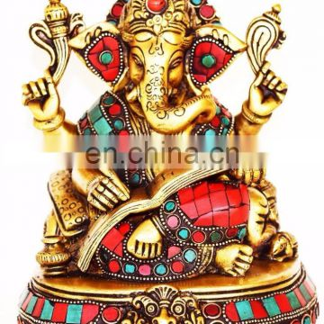 Lord Ganesh Ganesha Ganapati Brass Statue Hindu Success Lucky Wealth Turquoise Lotus Ganesha Religious Idol Lord of Success art