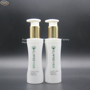 100ml Hot Stamping Handling Plastic Pet Bottle With Golden Lotion Pump