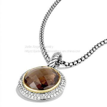 925 Silver Designs Inspired DY Cerise Pendant with Blue Topaz and Diamonds
