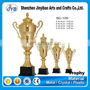 fancy quality custom logo metal golden trophy cup with ears