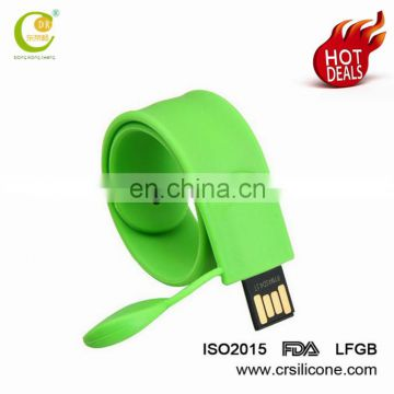 Great Quality Christmas Gifts Present Wristband Ruber Drive Foldable Silicone Bracelet Usb Flash Drive