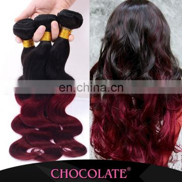 Factory price Ombre color black &burgundy body wave hair Chocolate Human Hair Extension Famous Brand