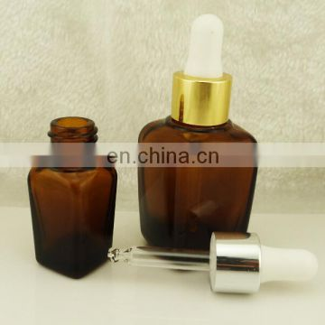 30ml square essential oil bottle amber with glass dropper