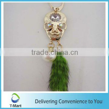 Cool Skull with Green Feather KeyChain Pendant for High-Heel, bags, clothings, belts and all decoration
