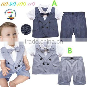 2015 New baby clothes collection top and jean suspenders 2pcs boy outfits set