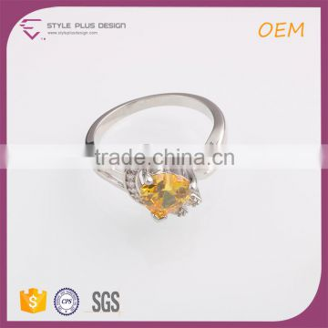 R63476K01 China wholesale jewelry silver plated yellow gold diamond ring