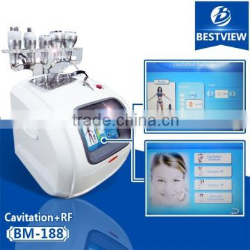 Non Surgical Ultrasonic Liposuction Newest 5 Heads Vacuum Cavitation Rf System 100J Machine Ultrasonic Cavitation+Vacuum Liposuction+Laser+Bipolar RF+Roller Skin Tightening