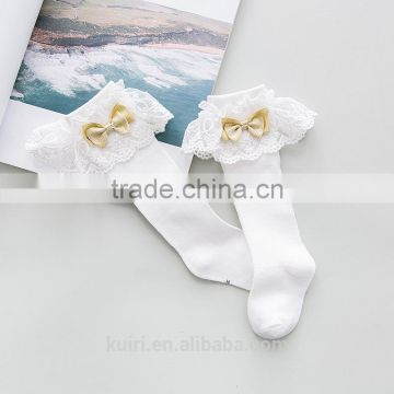 0ac3a537f ... Girls Kids Lace socks long For Children Cute Cotton Knee high school  sock with bow Girl ...