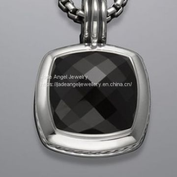 Sterling Silver DY Designs Inspired 17mm Black Onyx Albion Pendant