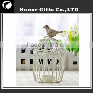 Fashionable Home Decoration Luky Metal Bird Cage Candle Holder
