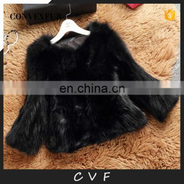 High quality winter fashion fur overcoat black raccoon fur clothing
