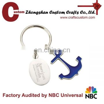 Metal souvenir enamel anchor keychain with nickle plate