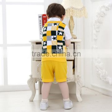 2015 Hot sale Summer Gentleman Kids Clothing Set British College Style Children's Outfit Boys Suit Tops+Pant 2 Pcs Outfits