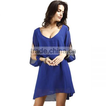 Plus Size Casual Summer Elegant V Neck Long Sleeve Chiffon Tops Hollow Out A Line Beach Clothes Sexy Sheer Mini Fashion Dress