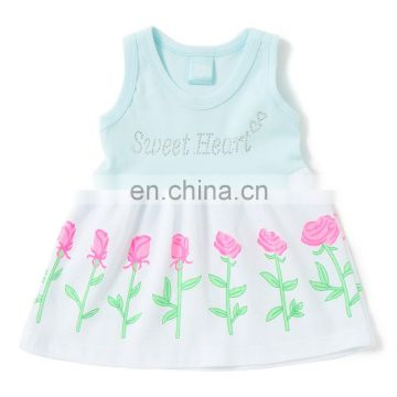 Blue Rose Printed Yoke Dress For Kids